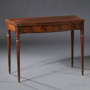 Federal Carved Mahogany and Mahogany Veneer Card Table