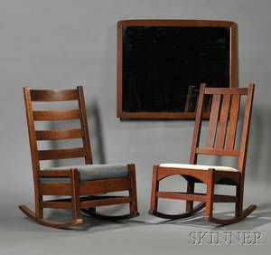 Two Arts  Crafts Oak Rocking Chairs and a Mirror