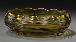 Czechoslovakian Iridescent Colored Art Glass Low Bowl