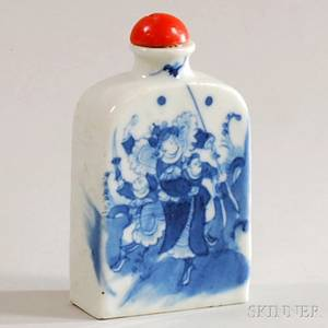 Large Chinese Blue and White Figuraldecorated Porcelain Snuff Bottle