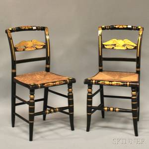Pair of Grainpainted and Giltdecorated Classical Fancy Side Chairs with Woven Rush Seats