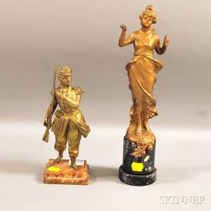 Giltmetal Figure of a Maiden and a Giltbronze Figure of a Soldier