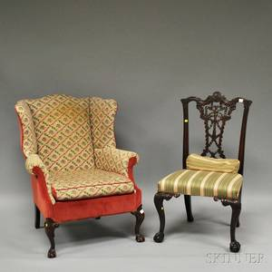 Chippendalestyle Needlepoint and Velvet Upholstered Carved Mahogany Wing Chair and a Chippendalestyle Upholstered Carved Mahogany Sid