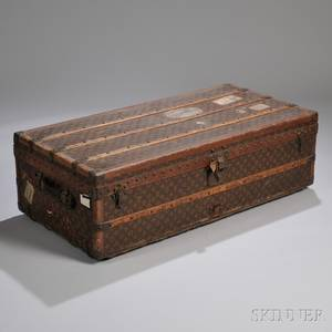 Louis Vuitton Wood Strapbound and Brassmounted Monogrampainted Canvasclad Cabin Trunk