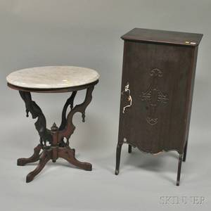 Victorian Oval White Marbletop Carved Walnut Occasional Table and an Early 20th Century Mahogany Sheet Music Cabinet with Contents