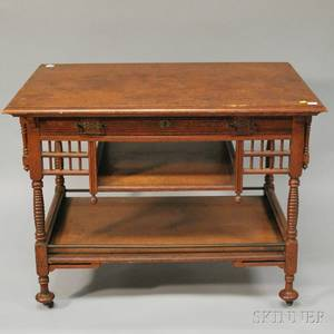 Victorian Aesthetic Movement Turned and Carved Oak Onedrawer Library Table