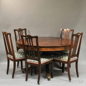 AH Davenport Co Circular Inlaid Mahogany Pedestalbase Dining Table and Set of Eight Davenport Attributed Upholstered Inlaid Mahogan