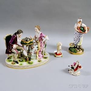 Four English and European Porcelain Figures and Figural Groups
