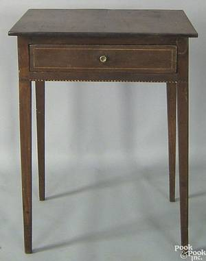 Western Pennsylvania Federal walnut one drawer stand early 19th c