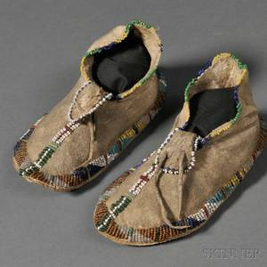 Pair of Apache Beaded Hide Childs Moccasins