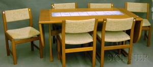 Danish Modern Tileinset Teak Veneer Trestlebase Dining Table and Six Chairs