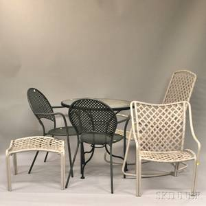 Eight Pieces of Painted Metal Patio Furniture