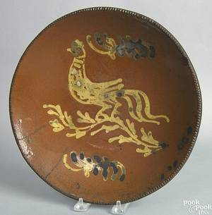 New Jersey redware charger attributed to William Lowe of Matawan 19th c