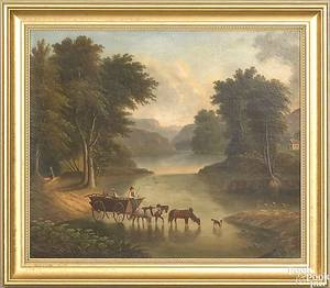 Hudson river valley oil on canvas landscape 19th c