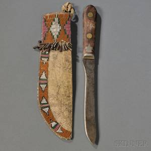 Cheyenne Beaded Buffalo Hide Knife Sheath