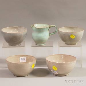 Four Edwin and Mary Scheier Redware Bowls and a Small Art Pottery Pitcher