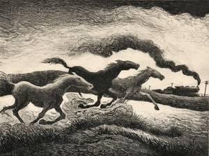 Thomas Hart Benton American 18891975 Running Horses