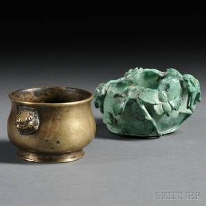 Bronze Censer and Stone Water Coupe