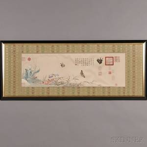 Framed Cream Silk Embroidery