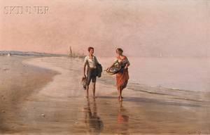Raffaello Celommi Italian 18811957 Young Couple Bringing Home the Catch