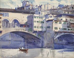 Aiden Lassell Ripley Italian 18961969 The Rowboat Ponte Vecchio Florence