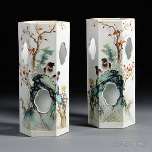 Pair of Porcelain Hat Stands