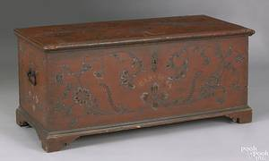 Central Pennsylvania painted pine and poplar dower chest late 18th c