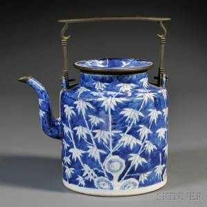 Blue and White Teapot with Metal Handle
