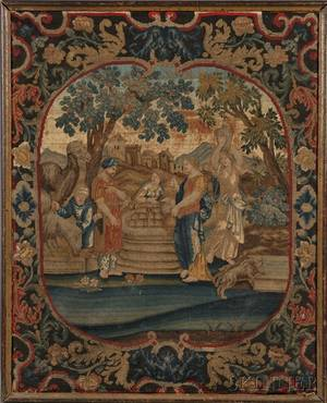 Framed Gros and Petitpoint Needlework Panel of a Biblical Scene