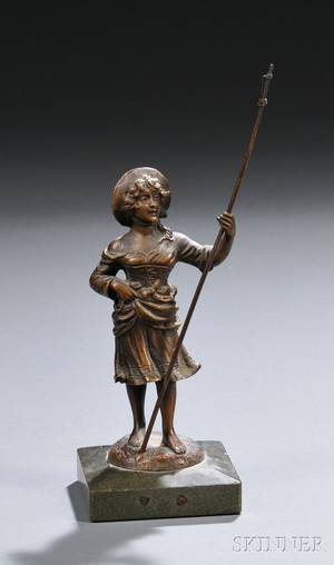 Continental School 20th Century Bronze Figure of a Peasant Woman with a Staff