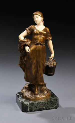 After Theophile Somme French 18711952 Bronze and Ivory Figure of a Peasant Girl with a Pail