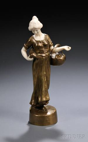 After Peter or Paul Tereszczuk Austrian Late 19thEarly 20th Century Bronze and Ivory Figure of a Peasant Woman with Pheasants cas