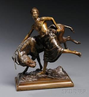After Paul Aichele German 18591910 Bronze Figure of a Blackamoor Boy with a Donkey