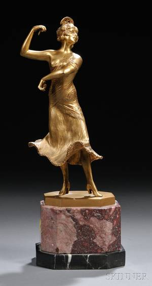 Continental School Early 20th Century Giltbronze Figure of a Female Dancer