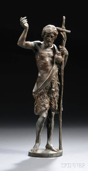 Continental School 19th Century Bronze of John the Baptist