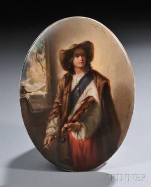 KPM Handpainted Porcelain Plaque of a Violinist