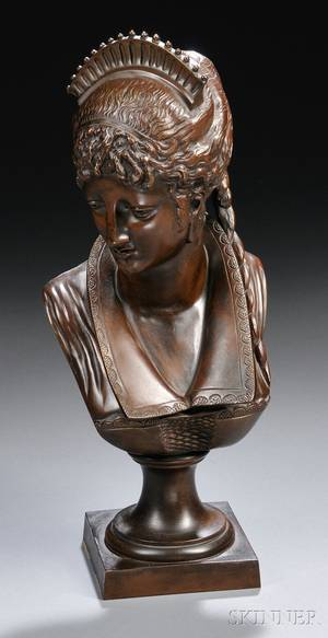 Continental School 19th Century Bronze Bust of an Aristocratic Woman