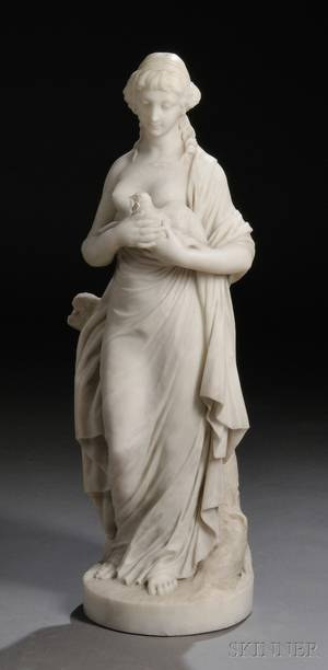 Italian School Late 19thEarly 20th Century Marble Sculpture of a Woman and a Dove