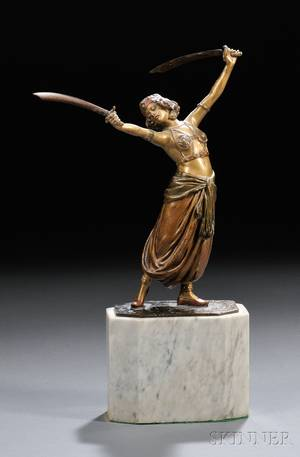 Coldpainted and Gilded Bronze Sword Dancer