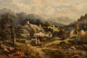 William Langley British 18521922 Thatched Cottage with Children Feeding Chickens