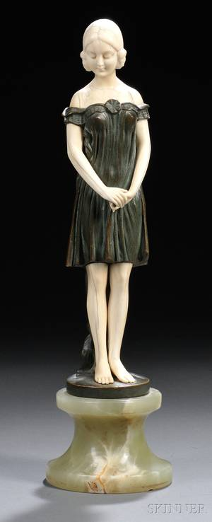 After Peter or Paul Tereszczuk Austrian Late 19thEarly 20th Century Bronze and Ivory Figure of a Girl