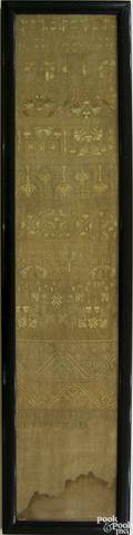 English silk on linen band sampler mid 18th c