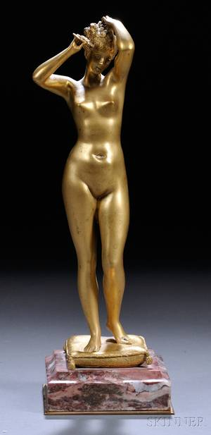 After Emile Pinedo French 18401916 Giltbronze Figure of a Female Nude