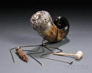 Scottish Victorian Silvermounted Horn Snuff Mull