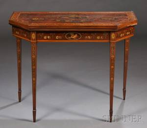 Regencystyle Polychrome Paintdecorated Inlaid Mahogany Games Table