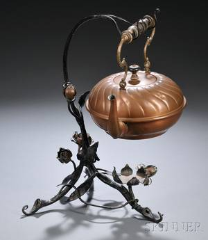 German Art Nouveau Copper Kettle and Stand
