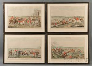 Thomas Fielding British 17581820 After Henry Alken British 17851851 Four Engravings of the Stages of the Fox Hunt Leicesters