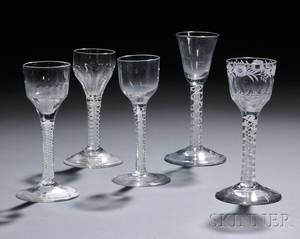 Five Doubleseries Opaquetwist Wineglasses