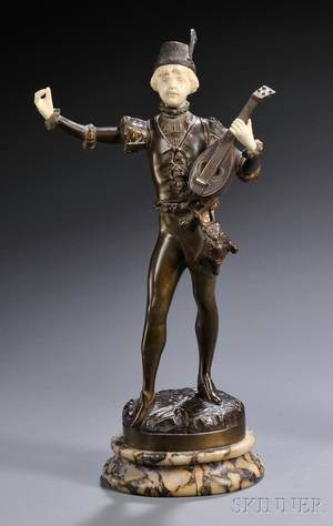 Continental School Late 19thEarly 20th Century Bronze and Ivory Figure of a Boy with a Lute