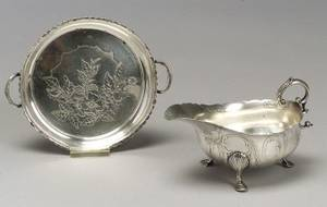 Tiffany  Co Sterling Silver Footed Gravy and an AcidEtched Sterling Silver TwoHandled Dish
